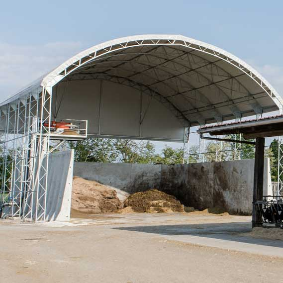 Manure pit and bunker fabric canopy